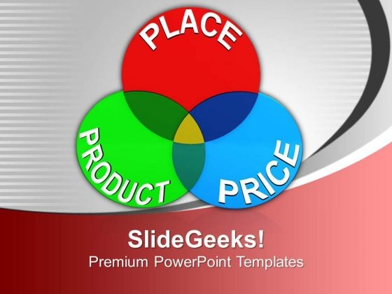 Venn Diagram Of Place Product Price Marketing PowerPoint Templates Ppt Backgrounds For Slides 0113