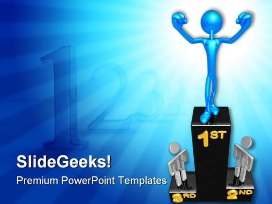 Victory Podium Winner Business PowerPoint Backgrounds And Templates 1210