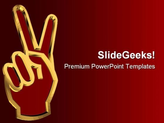 Victory Sign Business PowerPoint Themes And PowerPoint Slides 0511