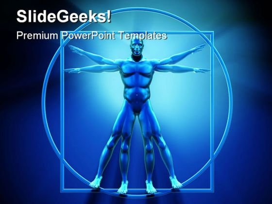 Vitruvian Man Technology PowerPoint Backgrounds And Templates 1210
