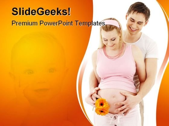 Waiting For Baby Family PowerPoint Template 0810
