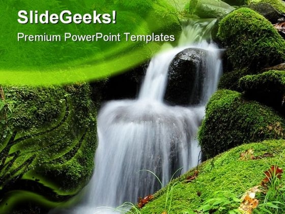 Water Fall Nature PowerPoint Template 0910