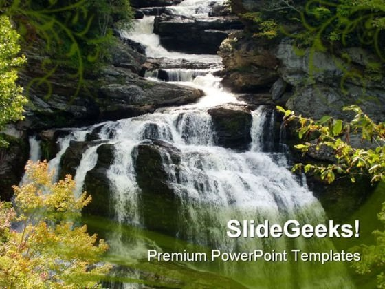 Water Fall Nature PowerPoint Template 1110