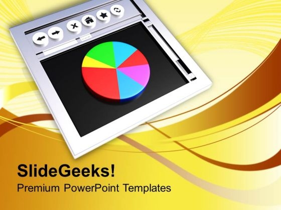 Web Browser With Pie Chart PowerPoint Templates Ppt Backgrounds For Slides 0413