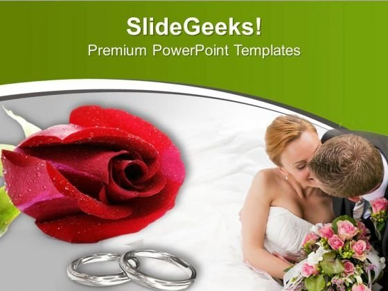 Wedding Rings Of Couple With Red Roses PowerPoint Templates Ppt Backgrounds For Slides 0413