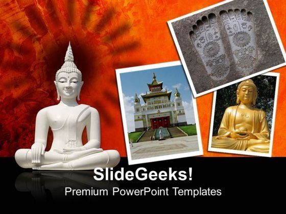 White Buddha Isolated Against Religion PowerPoint Templates And PowerPoint Themes 0712