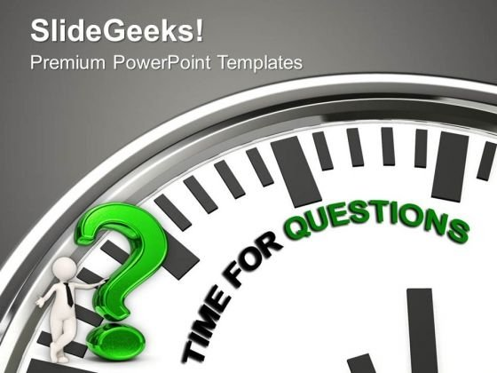 White Clock With Time For Questions PowerPoint Templates Ppt Backgrounds For Slides 1112