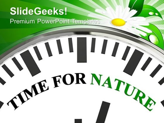 White Clock With Word Time For Nature PowerPoint Templates And PowerPoint Themes 0912