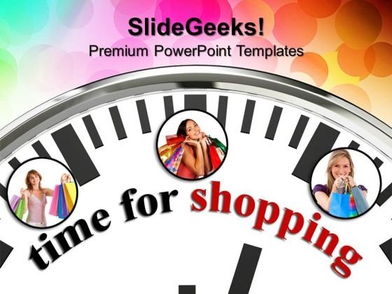 White Clock With Word Time For Shopping PowerPoint Templates And PowerPoint Themes 1012