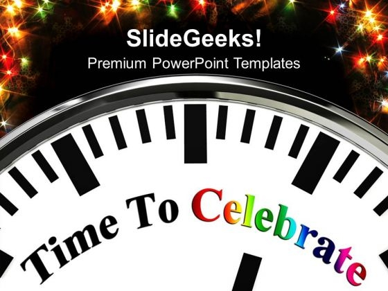 White Clock With Word Time To Celebrate PowerPoint Templates And PowerPoint Themes 1012