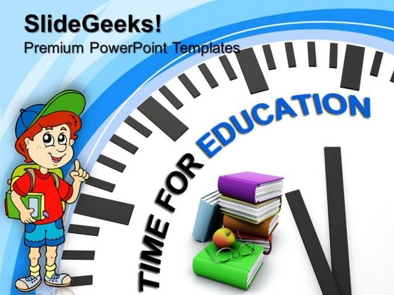 White Clock With Words Time For Education PowerPoint Templates And PowerPoint Themes 1012