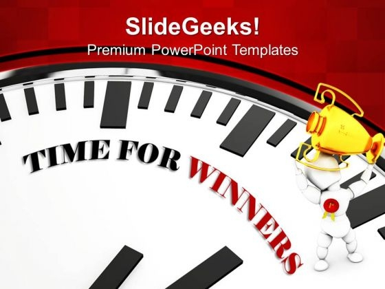 White Clock With Words Time For Winners Competition PowerPoint Templates And PowerPoint Themes 1012