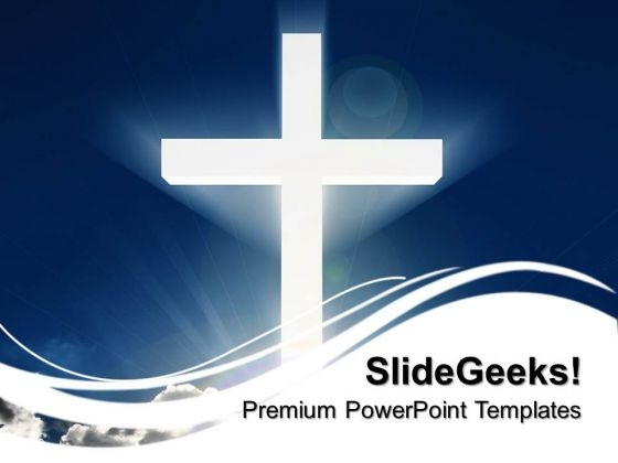 White Cross Beaming In Sky Christmas PowerPoint Templates And PowerPoint Themes 0712