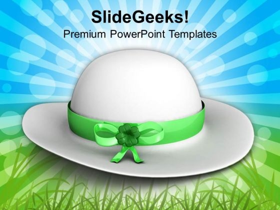 White Hat Symbolise Patricks Day PowerPoint Templates Ppt Backgrounds For Slides 0313