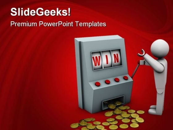 Win With Slot Machine Sports PowerPoint Themes And PowerPoint Slides 0611