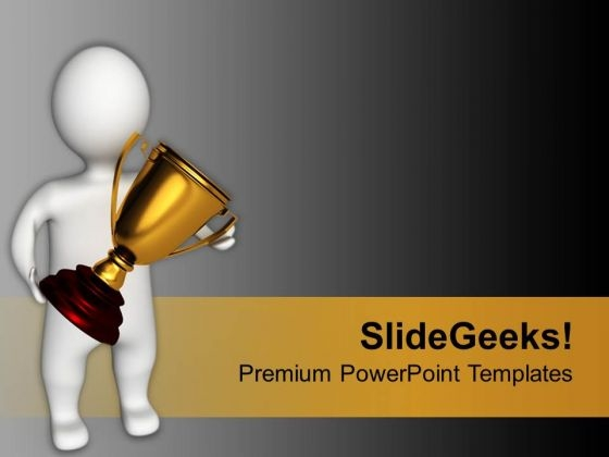 Winner Holding Golden Trophy Competition PowerPoint Templates Ppt Backgrounds For Slides 0113