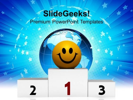 Winner On Pedestal Success PowerPoint Templates Ppt Backgrounds For Slides 1212