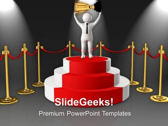 Winner On Podium With Golden Trophy Success PowerPoint Templates Ppt Backgrounds For Slides 0813