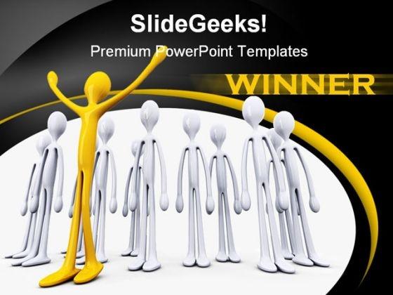 Winner Team Business Teamwork PowerPoint Template 1110
