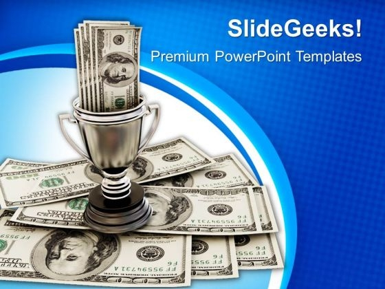 Winner Trophy With Money Success PowerPoint Templates Ppt Backgrounds For Slides 1112