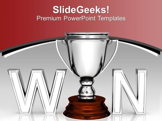 Winners Trophy Concept Of Competition PowerPoint Templates Ppt Backgrounds For Slides 0313