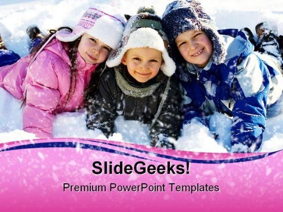 Winter Children PowerPoint Background And Template 1210