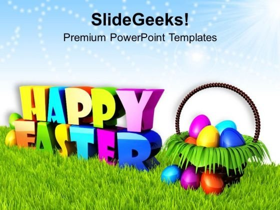 Wishing Happy Easter With Basket Of Eggs PowerPoint Templates Ppt Backgrounds For Slides 0313