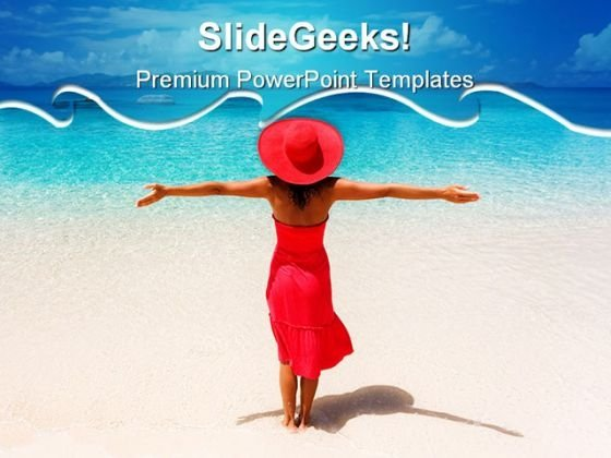 Woman Enjoys Beach PowerPoint Themes And PowerPoint Slides 0811