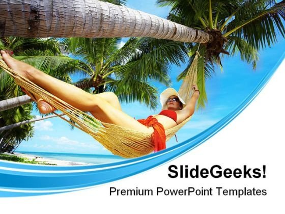 Woman In Hammock Beach PowerPoint Themes And PowerPoint Slides 0411