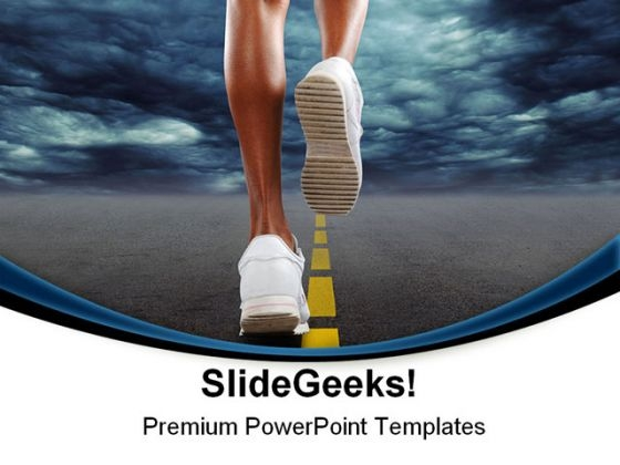 Woman Jogging Health PowerPoint Themes And PowerPoint Slides 0811