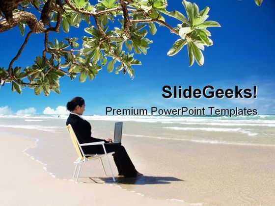 Woman On Beach Business PowerPoint Template 1110