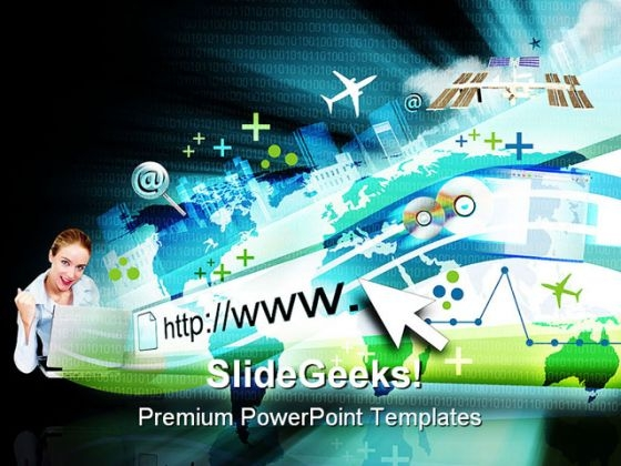 Woman On Laptop Internet PowerPoint Templates And PowerPoint Backgrounds 0411