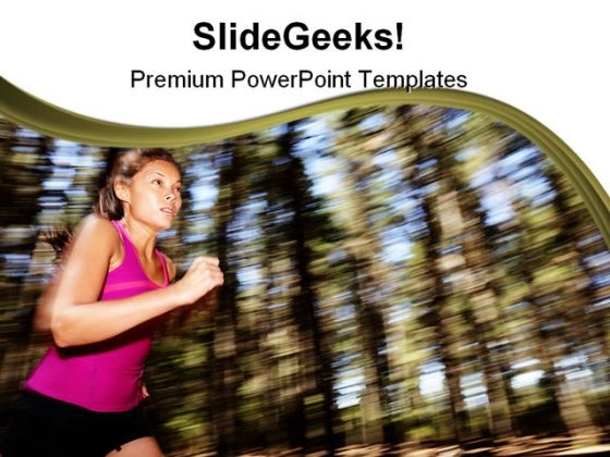 Woman Running Health PowerPoint Templates And PowerPoint Backgrounds 0411