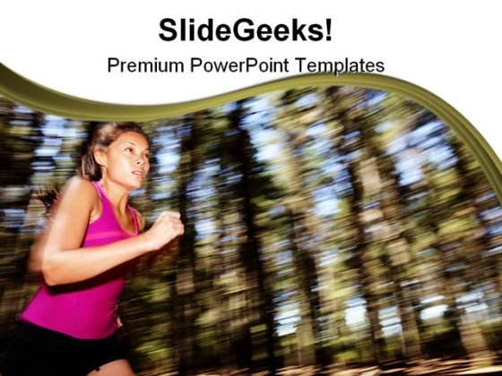 Woman Running Health PowerPoint Themes And PowerPoint Slides 0411