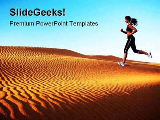Woman Running On Desert Health PowerPoint Themes And PowerPoint Slides 0811