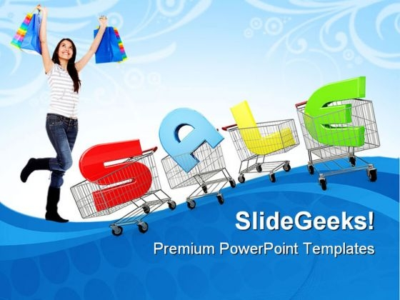 Woman With Shopping Cart Sales PowerPoint Themes And PowerPoint Slides 0511