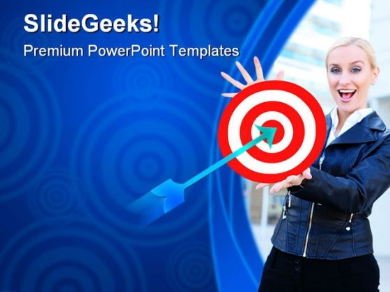 Woman With Target Business PowerPoint Themes And PowerPoint Slides 0611