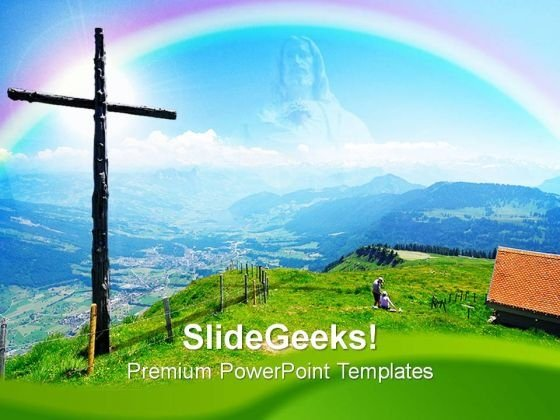 Wooden Cross Christian PowerPoint Templates And PowerPoint Themes 0812