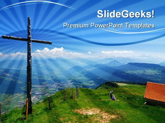 Wooden Cross Religion PowerPoint Themes And PowerPoint Slides 0411