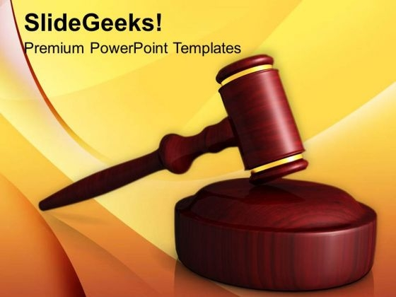 Wooden Gavel Law PowerPoint Templates Ppt Backgrounds For Slides 0113