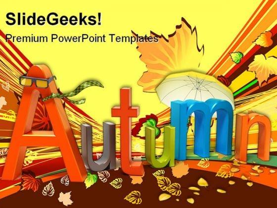 Word Autumn Nature PowerPoint Template 0910