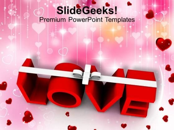 Word Love With White Ribbon Symbol PowerPoint Templates Ppt Backgrounds For Slides 0213
