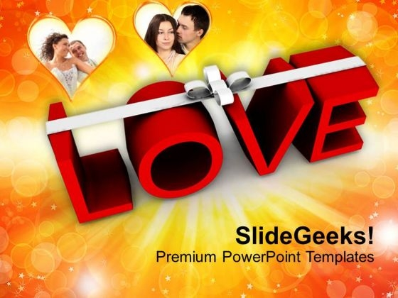 Word Love With White Ribbon Wedding PowerPoint Templates Ppt Backgrounds For Slides 0213
