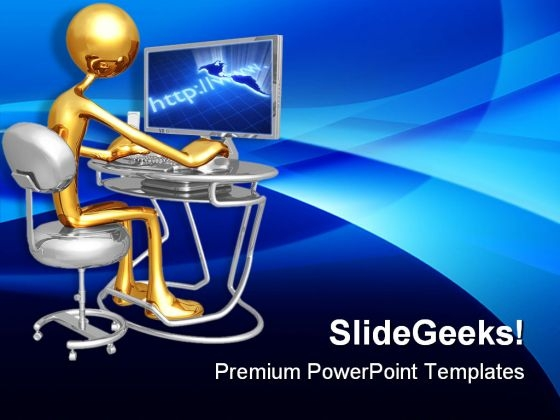 Work Station Monitor Computer PowerPoint Templates And PowerPoint Backgrounds 0611