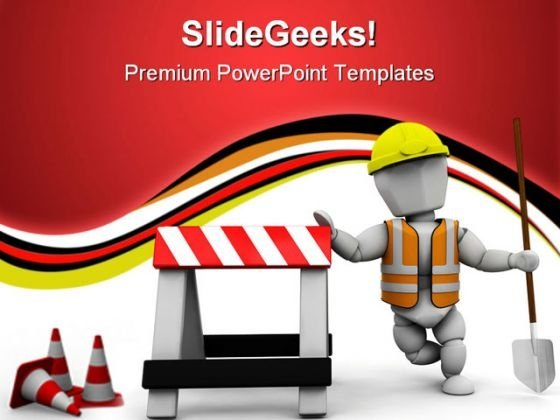 Worker Construction PowerPoint Themes And PowerPoint Slides 0711