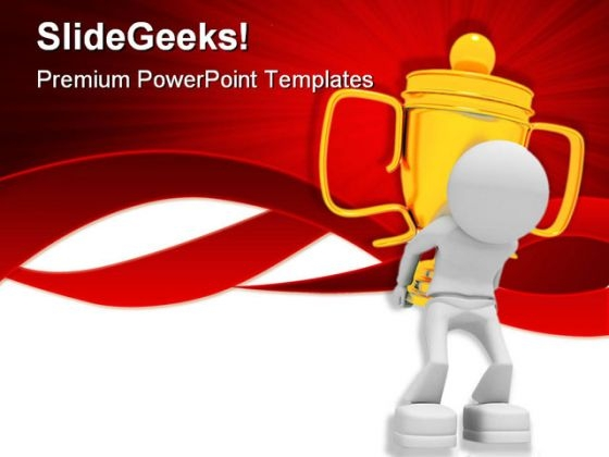 Worker With Cup Success PowerPoint Themes And PowerPoint Slides 0811
