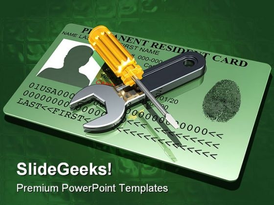 Working On A Green Card Industrial PowerPoint Templates And PowerPoint Backgrounds 0211