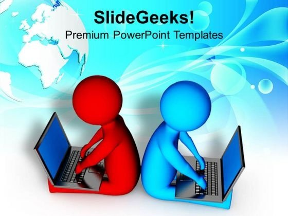 Working On Laptop Makes Your Business Easy PowerPoint Templates Ppt Backgrounds For Slides 0713