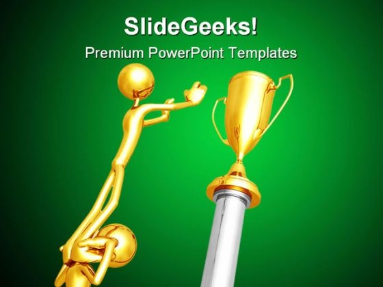Working Together For Gold Trophy Business PowerPoint Themes And PowerPoint Slides 0511