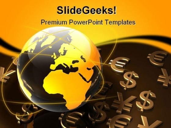 World Currency Globe PowerPoint Template 0610